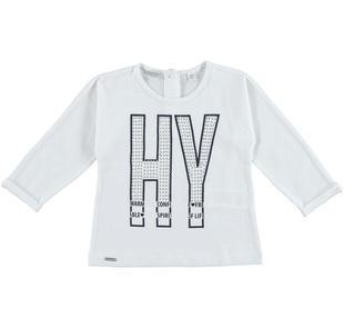 Maglietta in jersey stretch di cotone con stampa frontale  BIANCO-0113