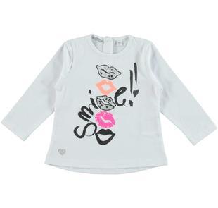 Maglietta a manica lunga in jersey stretch di cotone con stampa  BIANCO-0113