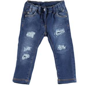 Pantalone slim in felpa denim stretch effetto delavato con strappi  STONE WASHED-7450