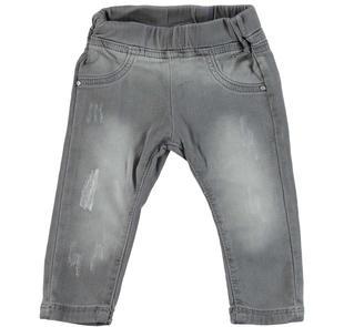 Pantalone in felpa denim stretch delavato e consumato  NERO-7991