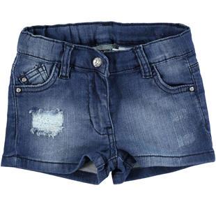 Shorts in felpa denim stretch effetto delavato con strappi e scalfitture  STONE WASHED-7450