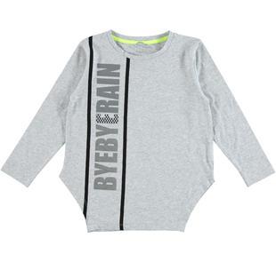 Maxi maglietta in jersey stretch di cotone con stampa effetto laminato  GRIGIO MELANGE-8991