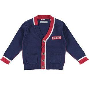 Cardigan scollo a v in tricot misto cotone e lana  NAVY-3854
