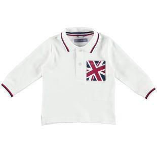 Polo 100% caldo cotone con taschino bandiera inglese  PANNA-0112