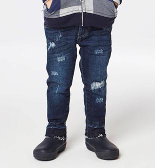 Jeans slim fit con moderni strappi per bambino  BLU-7750