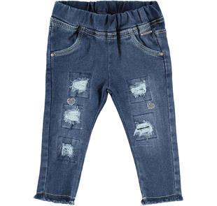 Jeans slim effetto delavato con strappi  STONE WASHED-7450