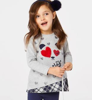 Completo maxi maglia e leggings con romantica stampa  GRIGIO MELANGE-8992
