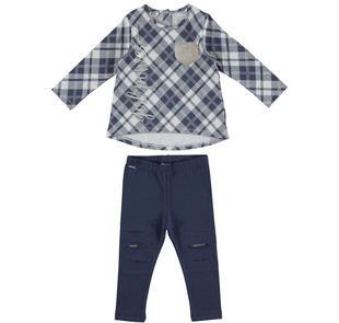 Completo con maxi maglia a quadri e leggings  NAVY-3854