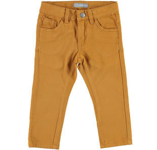 Comodo pantalone slim fit in twill stretch di cotone  CARAMELLO-1546