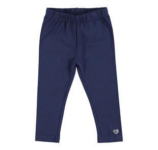Leggings in jersey stretch di cotone con cuore di strass  NAVY-3854