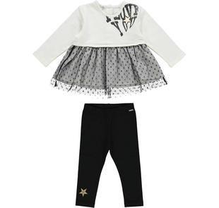 Completo con maglia in tulle jacquard e leggings  NERO-0658