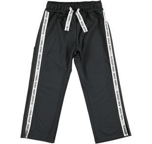 Pantalone in acetato con doppia striscia laterale  NERO-0658