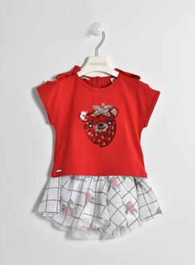 Completo t-shirt con orsetto di paillettes e mini gonna floreale  ROSSO-2256