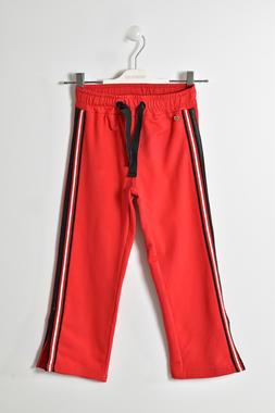 Pantalone bambina in felpa leggera stretch fettuccia nera sui fianchi  ROSSO-2256