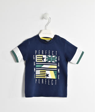 T-shirt in jersey 100% cotone con bandiere  NAVY-3854