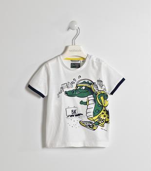 T-shirt 100% cotone con drago  BIANCO-0113