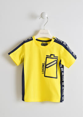 T-shirt 100% cotone con batteria  GIALLO-1444