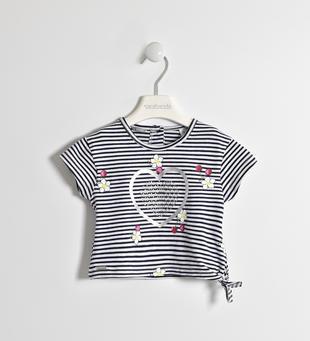 T-shirt fantasia rigata con nodo  NAVY-3854
