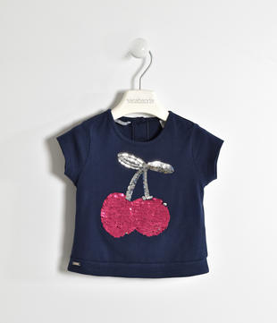 T-shirt in jersey stretch con ricamo paillettes  NAVY-3854