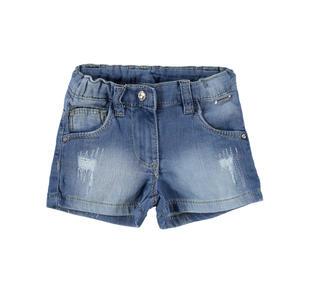Shorts in denim stretch con strass  STONE BLEACH-7350