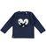 Maglietta in cotone stretch con cuore e fiocco sarabanda NAVY - 3854