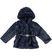 Ecopelliccia per bambina con cappuccio e cintura con cuore sarabanda NAVY - 3854
