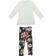 Comodo e trendy completo bambina con leggings floreale sarabanda PANNA - 0112 back