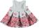 Vestitino per neonata in punto milano fantasia floreale minibanda GRIGIO-FIORI - 6N19 back