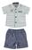 Elegante completino camicia e pantalone corto ido BIANCO-BLU - 8020