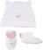 Kit cappellino e babbucce in cotone elasticizzato ido BIANCO-ROSA-8002