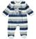 Dolcissima tutina intera neonato in ciniglia rigata di cotone ido BLU-GRIGIO - 8009