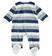 Dolcissima tutina intera neonato in ciniglia rigata di cotone ido BLU-GRIGIO - 8009 back