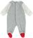 Deliziosa tutina neonato in ciniglia di cotone con finta camicia ido ROSSO-GRIGIO - 8015 back
