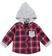 Camicia neonato 100% cotone a quadri con cappuccio ido ROSSO - 2259