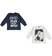 Kit con due magliette bambino  100% cotone mano calda ido BLU-PANNA - 8134