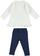 Completo maxi maglia 100% cotone con cuccioli e leggings ido PANNA-BLU-8132 back