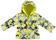 Piumino invernale in taffetà con fantasia floreale e particolari fluo ido PANNA-GRIGIO-GIALLO - 6N22