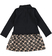 Vestito per bambina a manica lunga in felpa stretch garzata ido NERO-0658 back